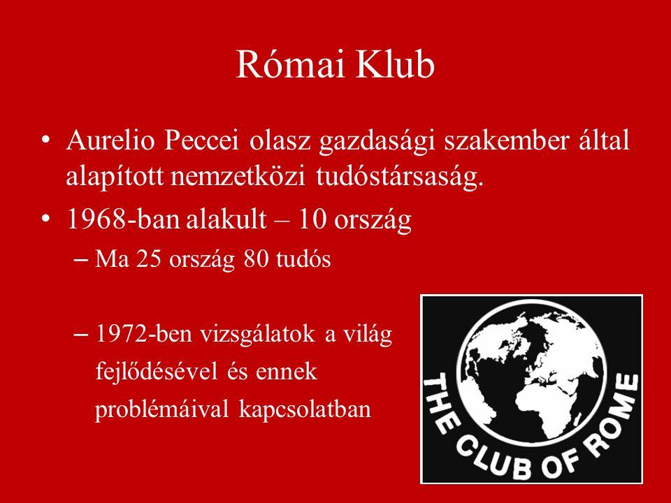 Római Klub Aurelio Peccei olasz gazdasági szakember által alapított nemzetközi tudóstársaság. 1968-ban alakult – 10 ország – Ma 25 ország 80 tudós – 1