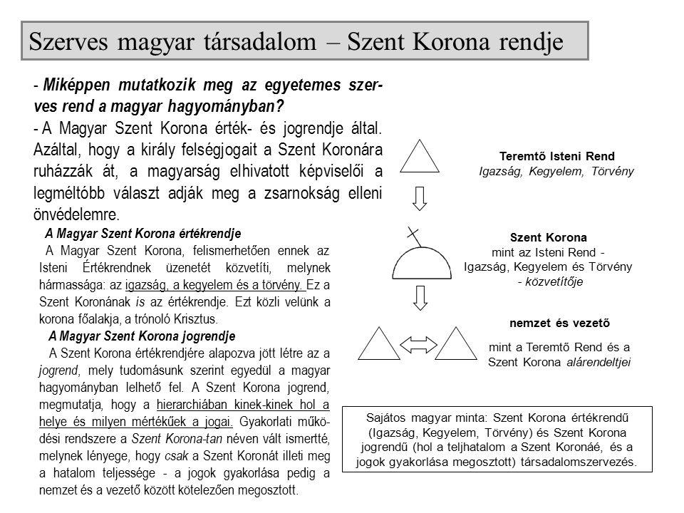Sajátos magyar minta: Szent Korona értékrendű (Igazság, Kegyelem, Törvény) és Szent Korona jogrendű (hol a teljhatalom a Szent Koronáé, és a jogok gyakorlása megosztott) társadalomszervezés.