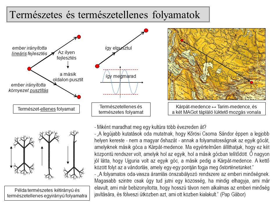 Természetes és természetellenes folyamatok Kárpát-medence ↔ Tarim-medence, és a két MAGot tápláló lüktető mozgás vonala Természet-ellenes folyamat Az