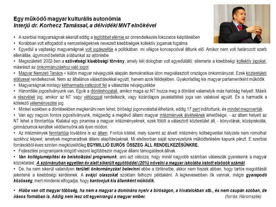 Egy működő magyar kulturális autonómia Interjú dr. Korhecz Tamással, a délvidéki MNT elnökével A szerbiai magyarságnak sikerült eddig a legtöbbet elér