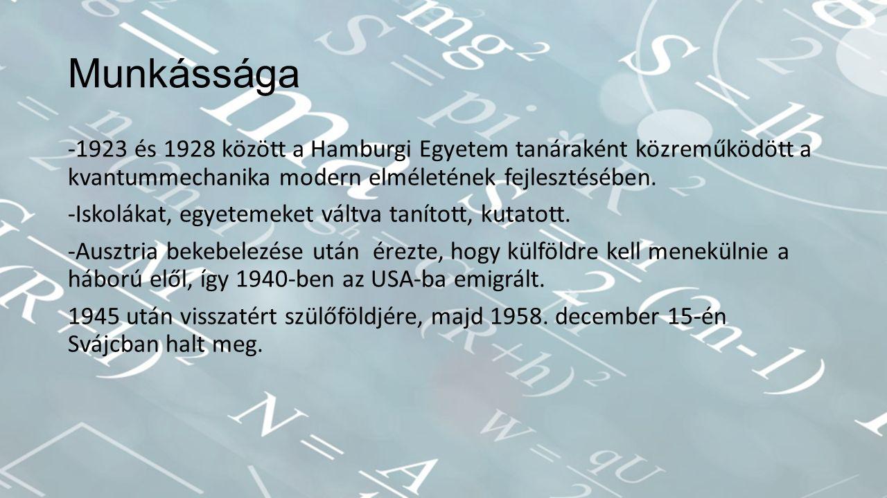Munkássága -1923 és 1928 között a Hamburgi Egyetem tanáraként közreműködött a kvantummechanika modern elméletének fejlesztésében.
