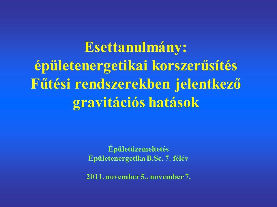 Esettanulmány: épületenergetikai korszerűsítés Fűtési rendszerekben jelentkező gravitációs hatások Épületüzemeltetés Épületenergetika B.Sc.