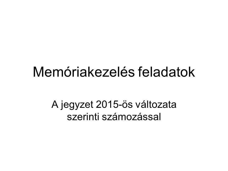 Memóriakezelés feladatok A jegyzet 2015-ös változata szerinti számozással