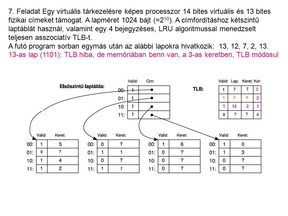 7. Feladat Egy virtuális tárkezelésre képes processzor 14 bites virtuális és 13 bites fizikai címeket támogat. A lapméret 1024 bájt (=2 10 ). A címfor