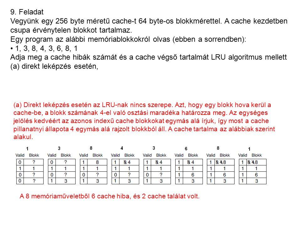9. Feladat Vegyünk egy 256 byte méretű cache-t 64 byte-os blokkmérettel.