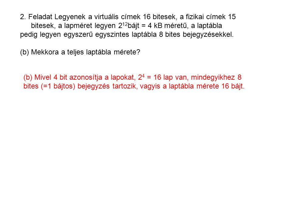 10.Feladat Vegyünk egy 512 byte méretű cache-t 64 byte-os blokkmérettel.
