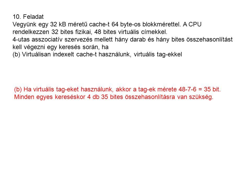 10. Feladat Vegyünk egy 32 kB méretű cache-t 64 byte-os blokkmérettel.