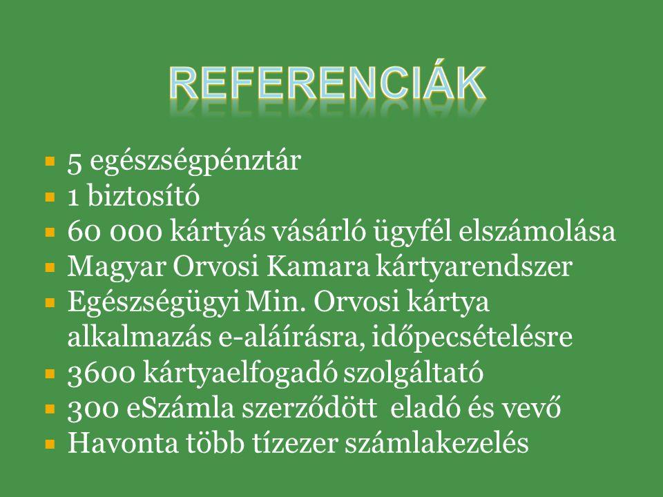  5 egészségpénztár  1 biztosító  60 000 kártyás vásárló ügyfél elszámolása  Magyar Orvosi Kamara kártyarendszer  Egészségügyi Min.