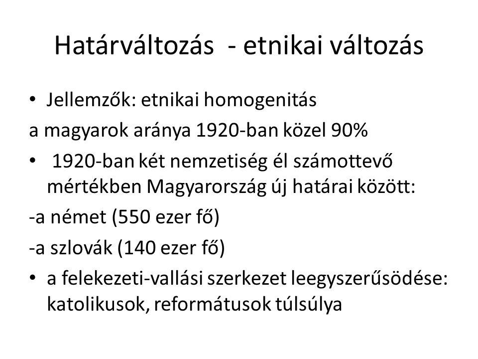 Határváltozás - etnikai változás Jellemzők: etnikai homogenitás a magyarok aránya 1920-ban közel 90% 1920-ban két nemzetiség él számottevő mértékben M