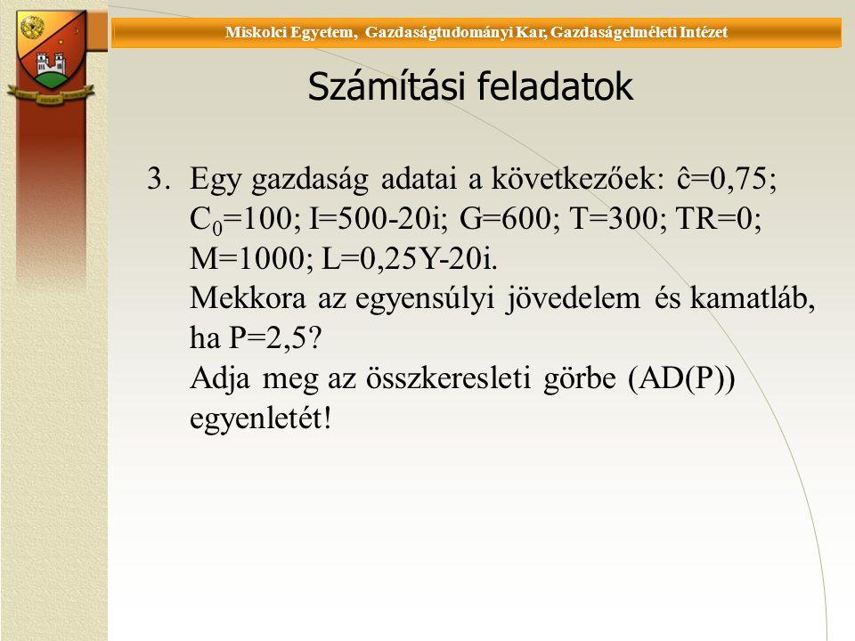 Universität Miskolc, Fakultät für Wirtschaftswissenschaften, Istitut für Wirtschaftstheorie Számítási feladatok 3.Egy gazdaság adatai a következőek: ĉ=0,75; C 0 =100; I=500-20i; G=600; T=300; TR=0; M=1000; L=0,25Y-20i.