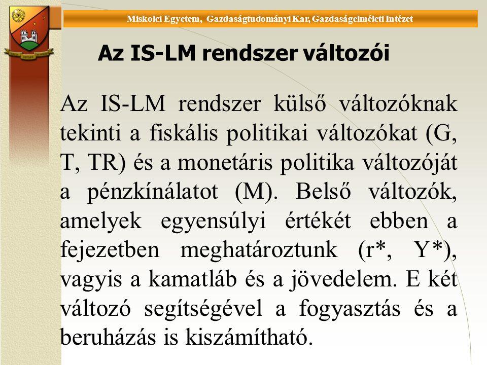 Universität Miskolc, Fakultät für Wirtschaftswissenschaften, Istitut für Wirtschaftstheorie Az IS-LM rendszer változói Az IS-LM rendszer külső változóknak tekinti a fiskális politikai változókat (G, T, TR) és a monetáris politika változóját a pénzkínálatot (M).