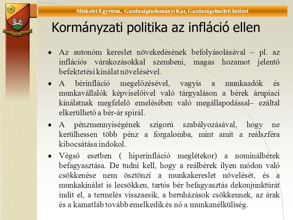 Universität Miskolc, Fakultät für Wirtschaftswissenschaften, Istitut für Wirtschaftstheorie Kormányzati politika az infláció ellen  Az autonóm kereslet növekedésének befolyásolásával – pl.
