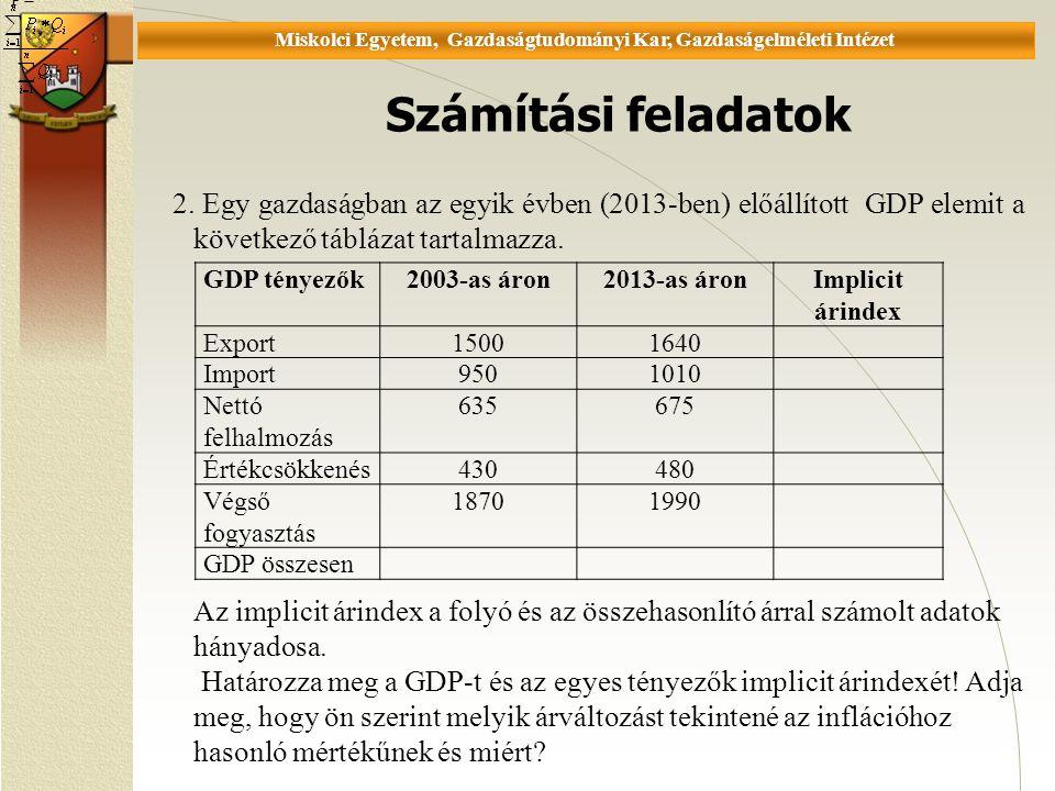 Universität Miskolc, Fakultät für Wirtschaftswissenschaften, Istitut für Wirtschaftstheorie Számítási feladatok P = 2.