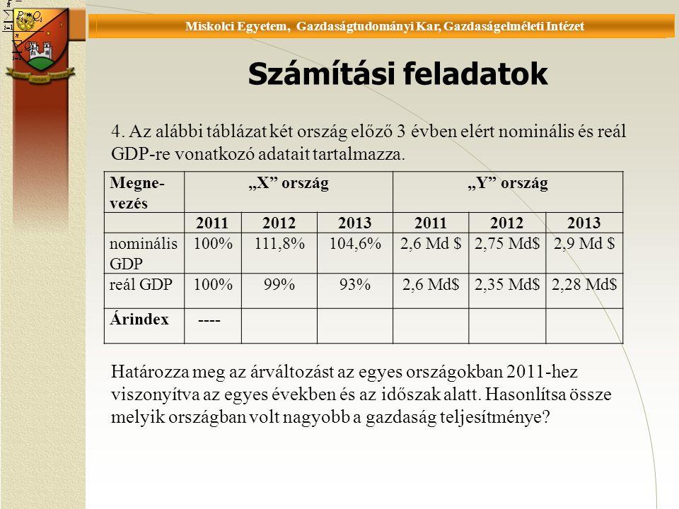 Universität Miskolc, Fakultät für Wirtschaftswissenschaften, Istitut für Wirtschaftstheorie Számítási feladatok P = 4.