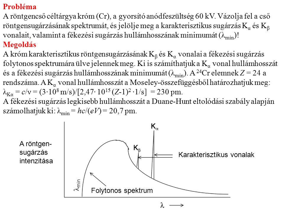 Probléma A röntgencső céltárgya króm (Cr), a gyorsító anódfeszültség 60 kV. Vázolja fel a cső röntgensugárzásának spektrumát, és jelölje meg a karakte