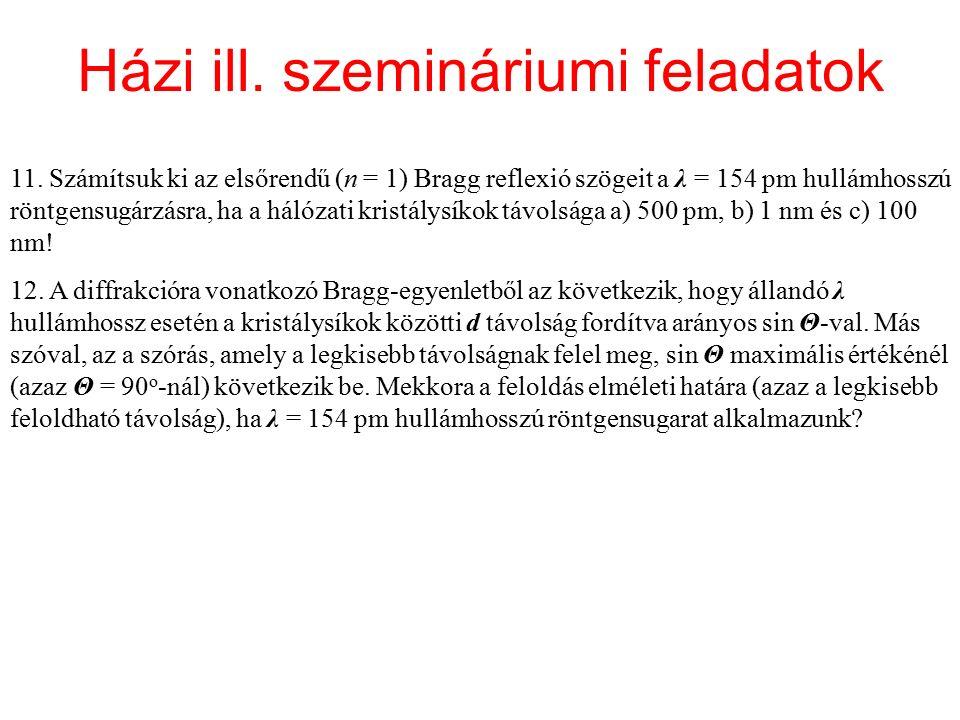 Házi ill. szemináriumi feladatok 11. Számítsuk ki az elsőrendű (n = 1) Bragg reflexió szögeit a λ = 154 pm hullámhosszú röntgensugárzásra, ha a hálóza