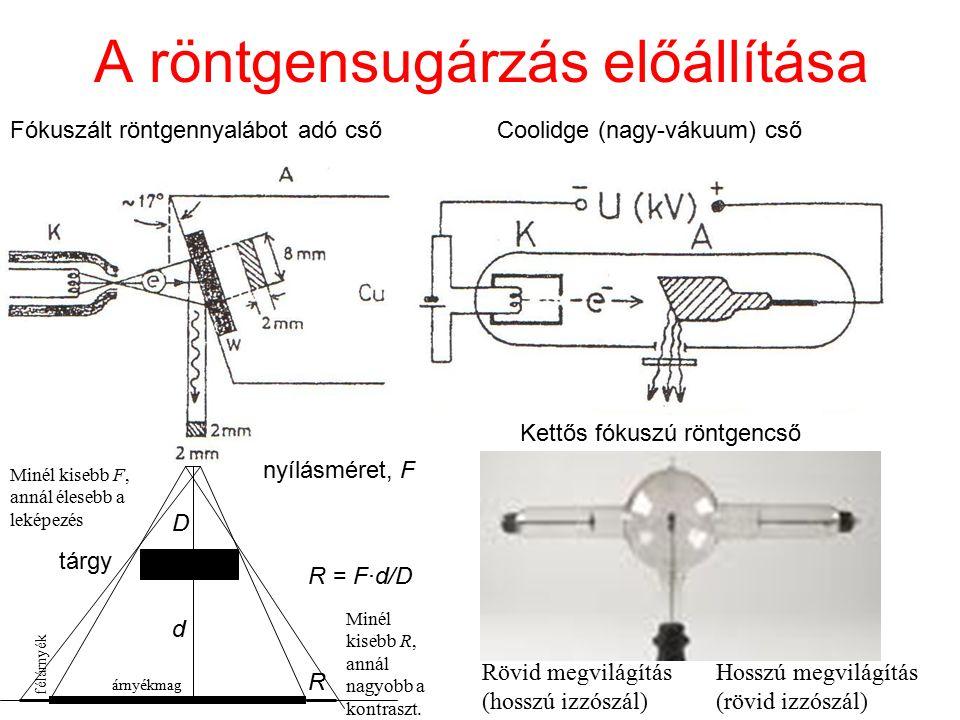 A röntgensugárzás előállítása Coolidge (nagy-vákuum) cső Kettős fókuszú röntgencső Rövid megvilágítás (hosszú izzószál) Hosszú megvilágítás (rövid izz