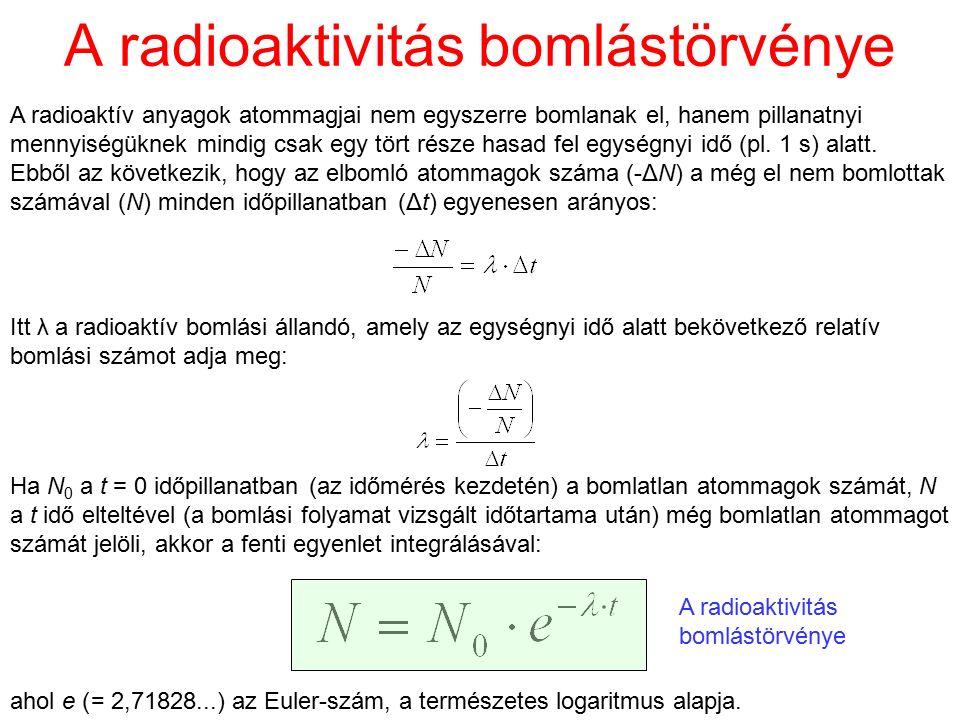 A radioaktivitás bomlástörvénye A radioaktív anyagok atommagjai nem egyszerre bomlanak el, hanem pillanatnyi mennyiségüknek mindig csak egy tört része