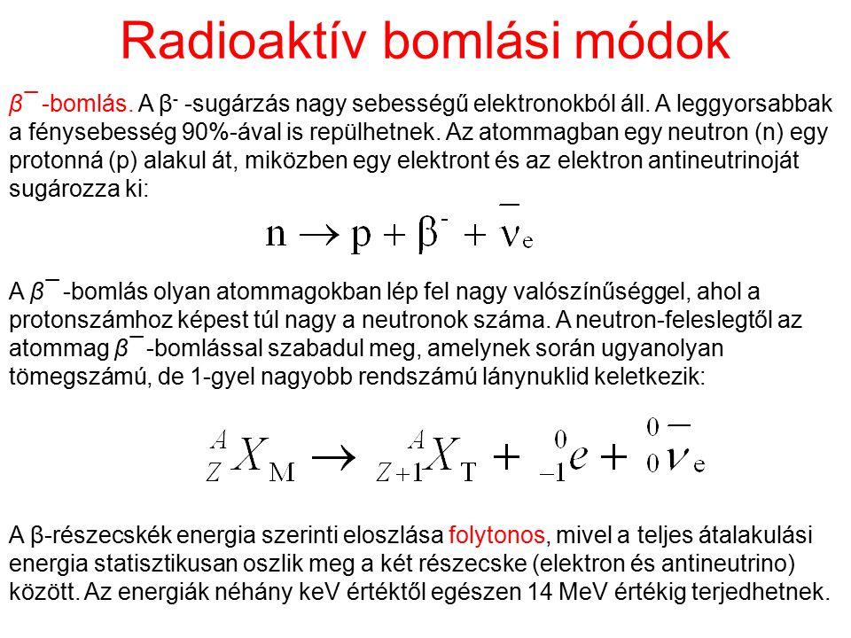 Radioaktív bomlási módok β¯ -bomlás. A β - -sugárzás nagy sebességű elektronokból áll. A leggyorsabbak a fénysebesség 90%-ával is repülhetnek. Az atom