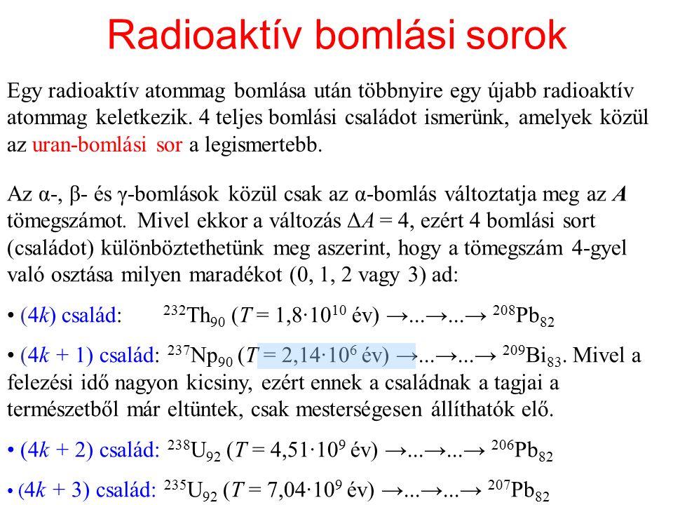 Radioaktív bomlási sorok Egy radioaktív atommag bomlása után többnyire egy újabb radioaktív atommag keletkezik. 4 teljes bomlási családot ismerünk, am