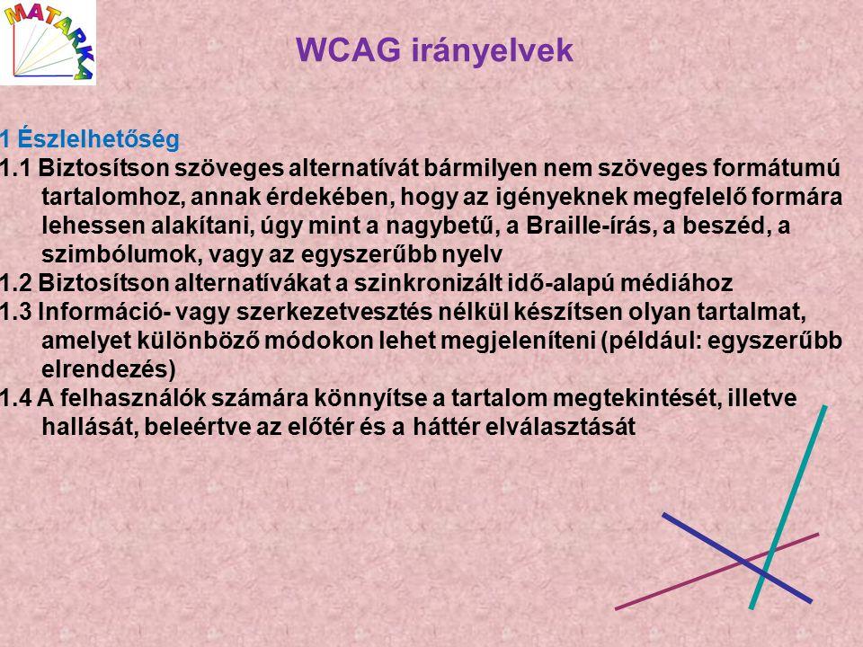 WCAG irányelvek 1 Észlelhetőség 1.1 Biztosítson szöveges alternatívát bármilyen nem szöveges formátumú tartalomhoz, annak érdekében, hogy az igényeknek megfelelő formára lehessen alakítani, úgy mint a nagybetű, a Braille-írás, a beszéd, a szimbólumok, vagy az egyszerűbb nyelv 1.2 Biztosítson alternatívákat a szinkronizált idő-alapú médiához 1.3 Információ- vagy szerkezetvesztés nélkül készítsen olyan tartalmat, amelyet különböző módokon lehet megjeleníteni (például: egyszerűbb elrendezés) 1.4 A felhasználók számára könnyítse a tartalom megtekintését, illetve hallását, beleértve az előtér és a háttér elválasztását