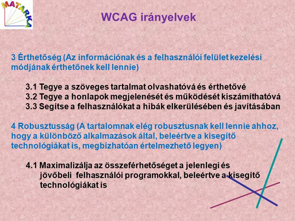 WCAG irányelvek 3 Érthetőség (Az információnak és a felhasználói felület kezelési módjának érthetőnek kell lennie) 3.1 Tegye a szöveges tartalmat olvashatóvá és érthetővé 3.2 Tegye a honlapok megjelenését és működését kiszámíthatóvá 3.3 Segítse a felhasználókat a hibák elkerülésében és javításában 4 Robusztusság (A tartalomnak elég robusztusnak kell lennie ahhoz, hogy a különböző alkalmazások által, beleértve a kisegítő technológiákat is, megbízhatóan értelmezhető legyen) 4.1 Maximalizálja az összeférhetőséget a jelenlegi és jövőbeli felhasználói programokkal, beleértve a kisegítő technológiákat is