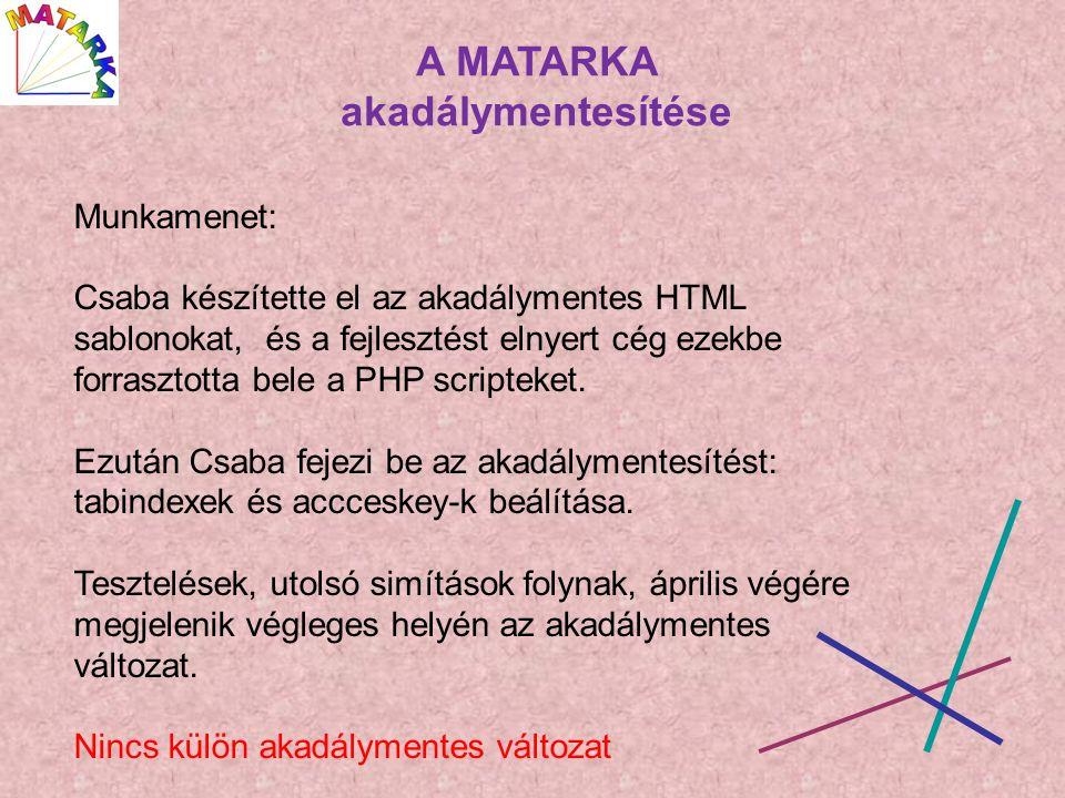A MATARKA akadálymentesítése Munkamenet: Csaba készítette el az akadálymentes HTML sablonokat, és a fejlesztést elnyert cég ezekbe forrasztotta bele a PHP scripteket.