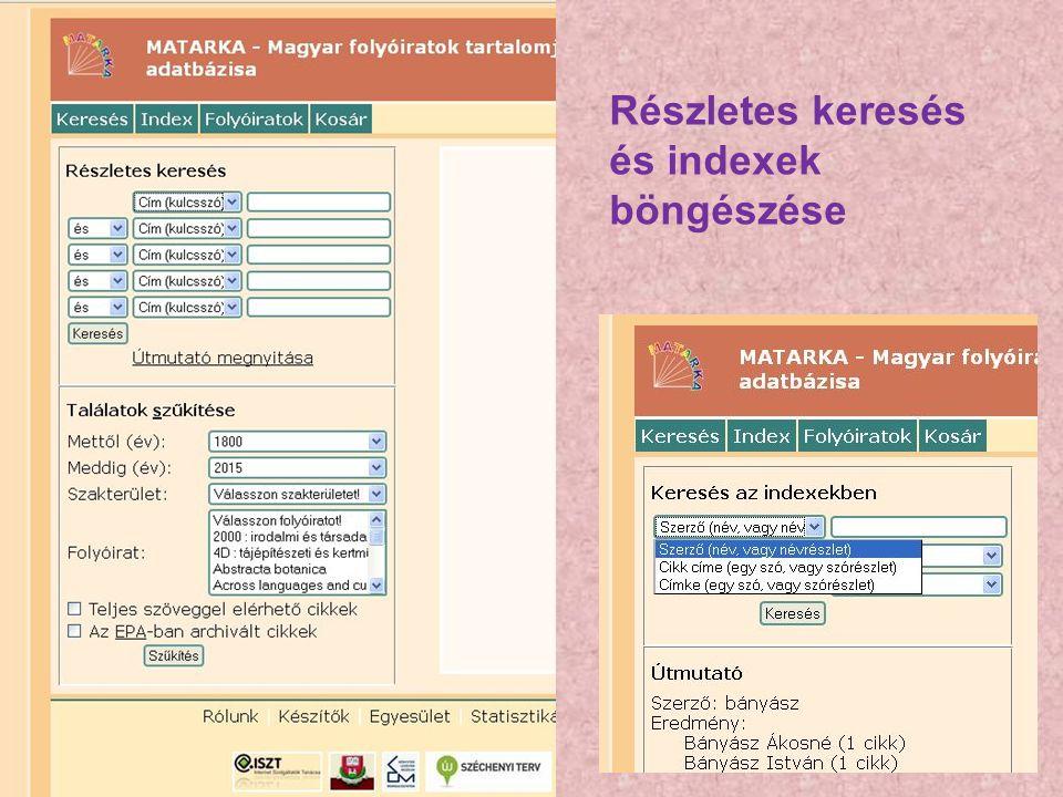 Részletes keresés és indexek böngészése