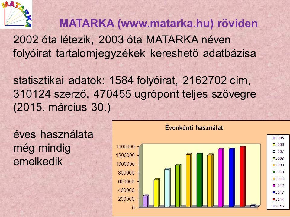 2002 óta létezik, 2003 óta MATARKA néven folyóirat tartalomjegyzékek kereshető adatbázisa statisztikai adatok: 1584 folyóirat, 2162702 cím, 310124 szerző, 470455 ugrópont teljes szövegre (2015.