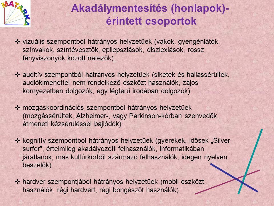 """Akadálymentesítés (honlapok)- érintett csoportok  vizuális szempontból hátrányos helyzetűek (vakok, gyengénlátók, színvakok, színtévesztők, epilepsziások, diszlexiások, rossz fényviszonyok között netezők)  auditív szempontból hátrányos helyzetűek (siketek és hallássérültek, audiókimenettel nem rendelkező eszközt használók, zajos környezetben dolgozók, egy légterű irodában dolgozók)  mozgáskoordinációs szempontból hátrányos helyzetűek (mozgássérültek, Alzheimer-, vagy Parkinson-kórban szenvedők, átmeneti kézsérüléssel bajlódók)  kognitív szempontból hátrányos helyzetűek (gyerekek, idősek """"Silver surfer , értelmileg akadályozott felhasználók, informatikában járatlanok, más kultúrkörből származó felhasználók, idegen nyelven beszélők)  hardver szempontjából hátrányos helyzetűek (mobil eszközt használók, régi hardvert, régi böngészőt használók)"""