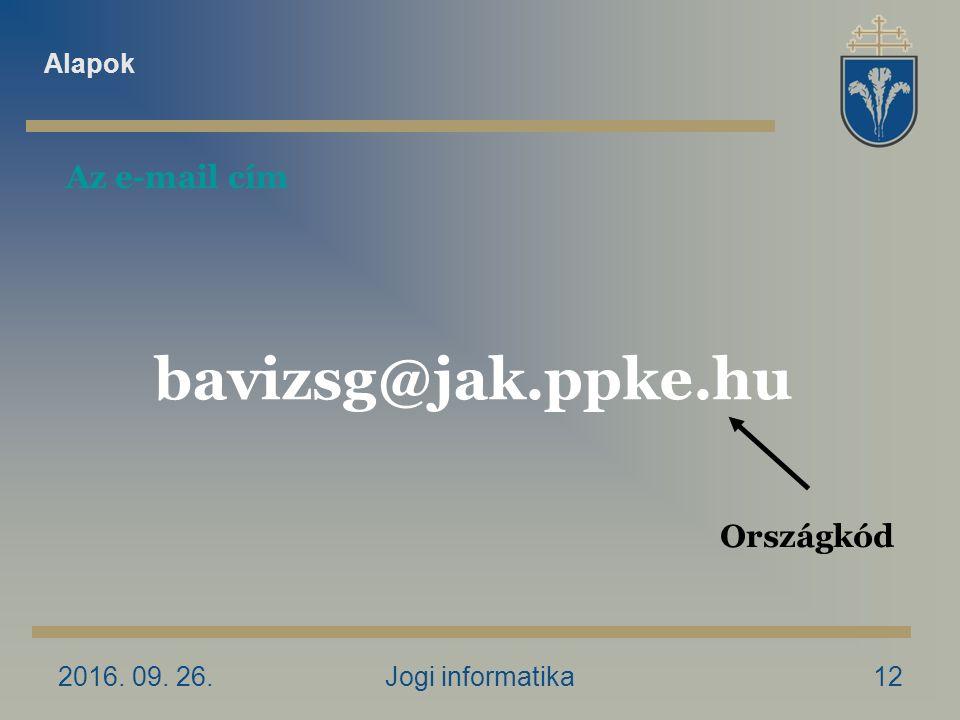 2016. 09. 26.Jogi informatika12 Az e-mail cím Országkód bavizsg@jak.ppke.hu Alapok
