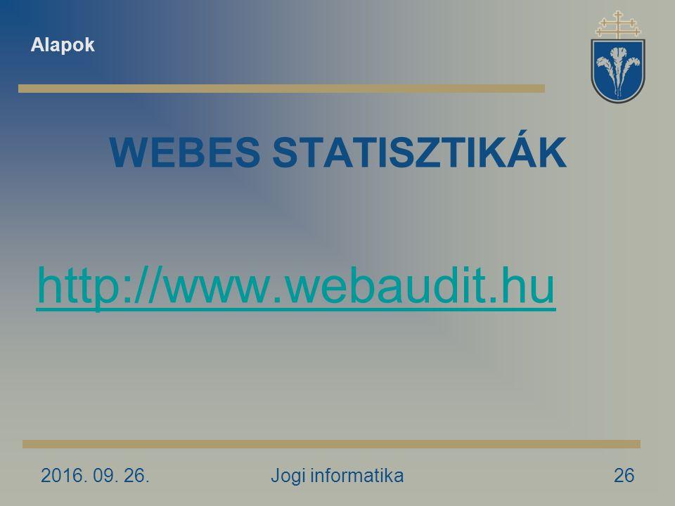 2016. 09. 26.Jogi informatika26 WEBES STATISZTIKÁK http://www.webaudit.hu Alapok