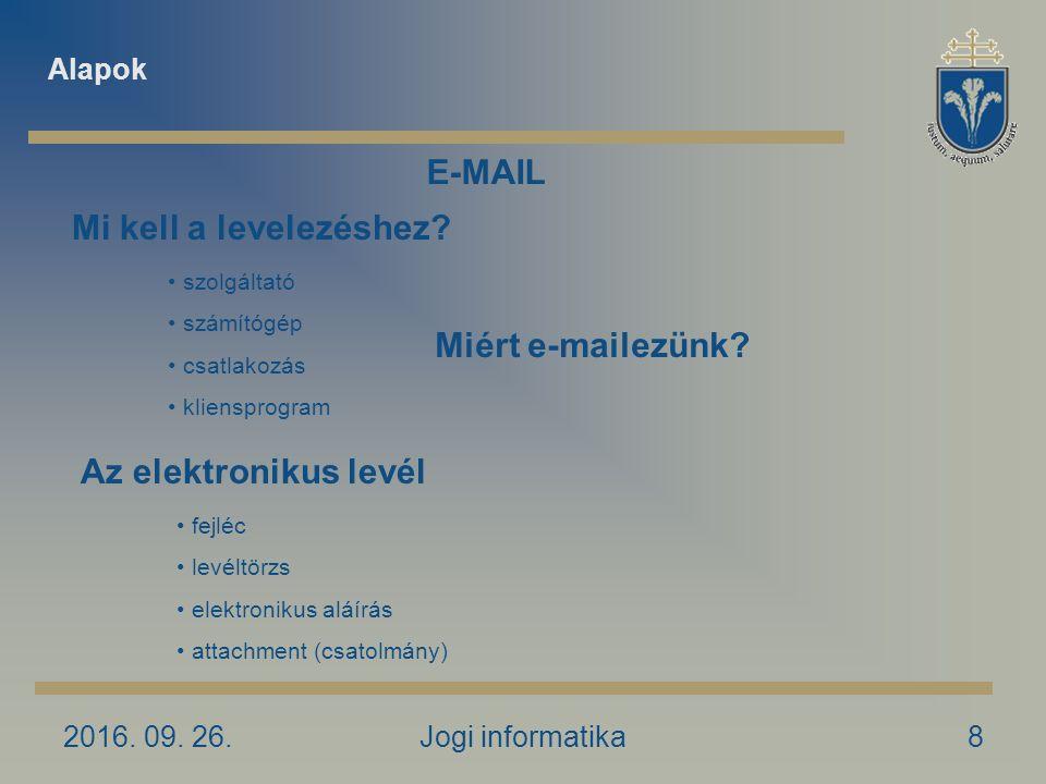 2016. 09. 26.Jogi informatika8 Miért e-mailezünk.