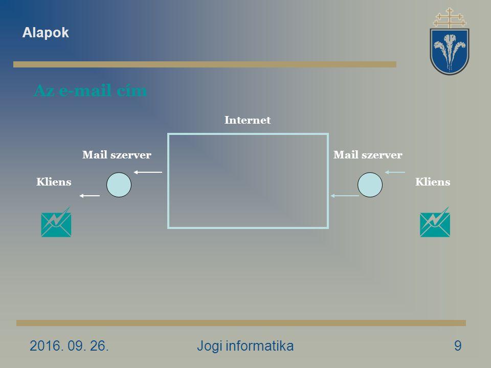 2016. 09. 26.Jogi informatika9 Az e-mail cím Kliens Internet Mail szerver  Alapok