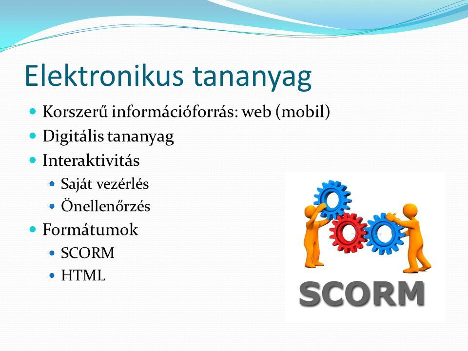 Elektronikus tananyag Korszerű információforrás: web (mobil) Digitális tananyag Interaktivitás Saját vezérlés Önellenőrzés Formátumok SCORM HTML