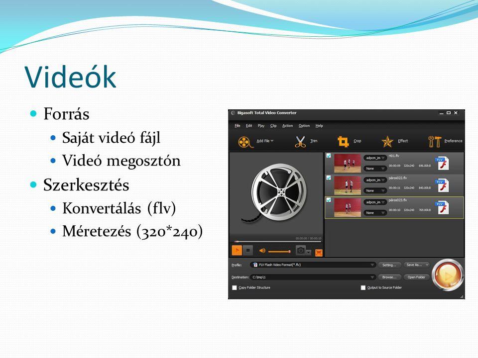 Videók Forrás Saját videó fájl Videó megosztón Szerkesztés Konvertálás (flv) Méretezés (320*240)