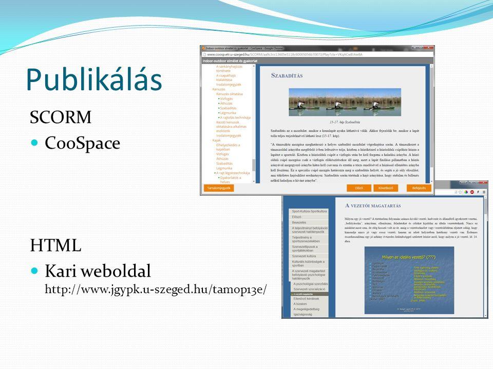 Publikálás SCORM CooSpace HTML Kari weboldal http://www.jgypk.u-szeged.hu/tamop13e/