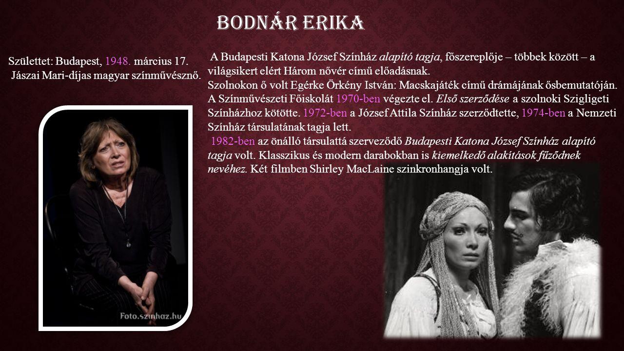 Bodnár Erika A Budapesti Katona József Színház alapító tagja, főszereplője – többek között – a világsikert elért Három nővér című előadásnak.