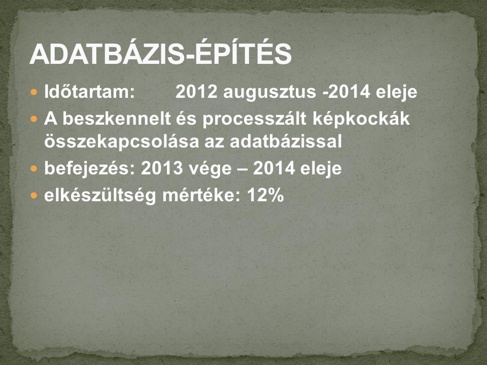 Időtartam: 2012 augusztus -2014 eleje A beszkennelt és processzált képkockák összekapcsolása az adatbázissal befejezés: 2013 vége – 2014 eleje elkészültség mértéke: 12%