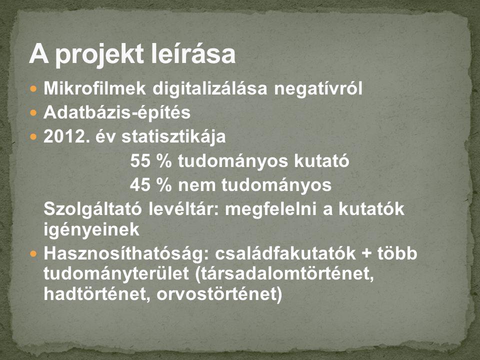 Mikrofilmek digitalizálása negatívról Adatbázis-építés 2012.