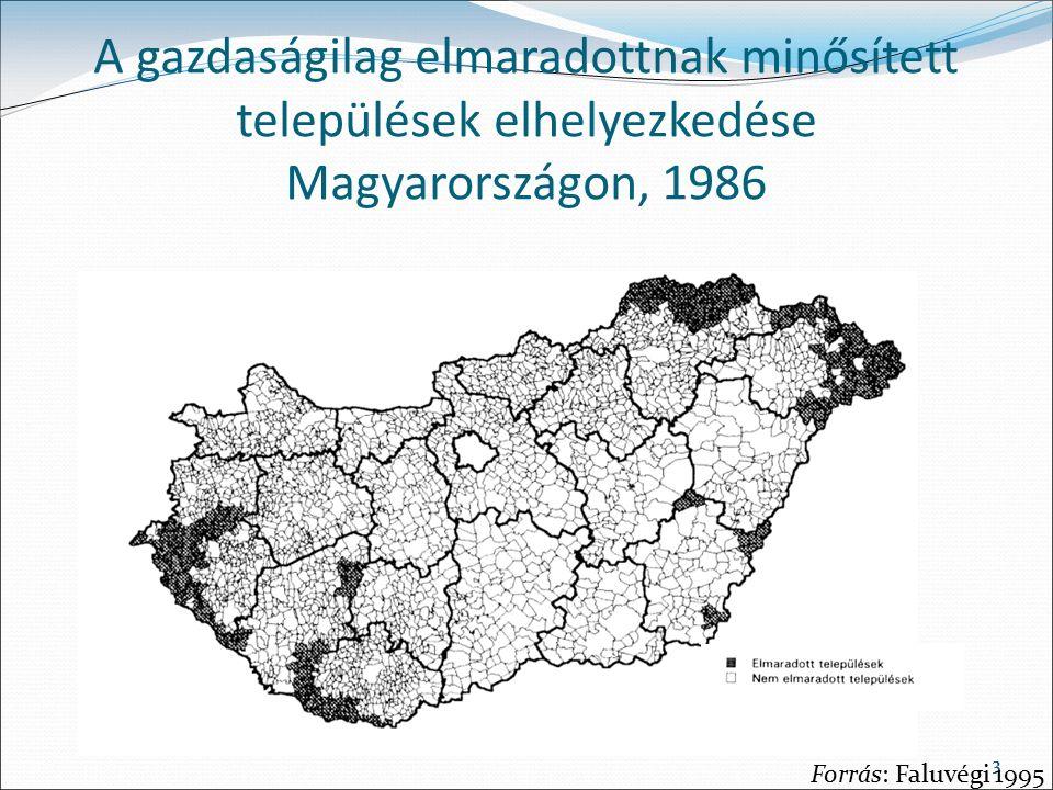 33 A gazdaságilag elmaradottnak minősített települések elhelyezkedése Magyarországon, 1986 Forrás: Faluvégi 1995