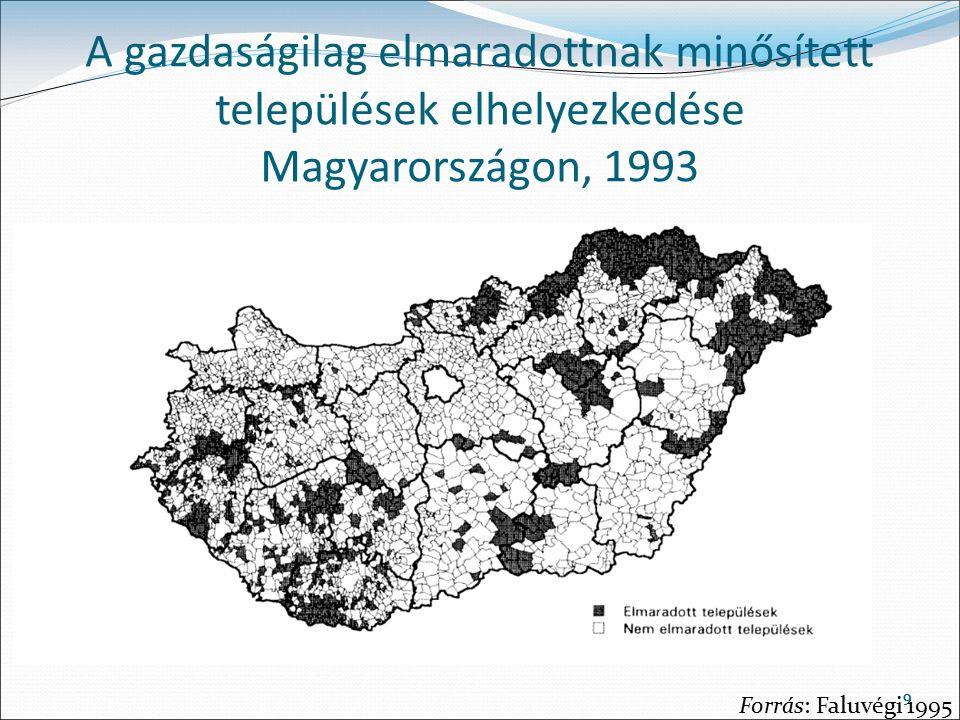 99 A gazdaságilag elmaradottnak minősített települések elhelyezkedése Magyarországon, 1993 Forrás: Faluvégi 1995
