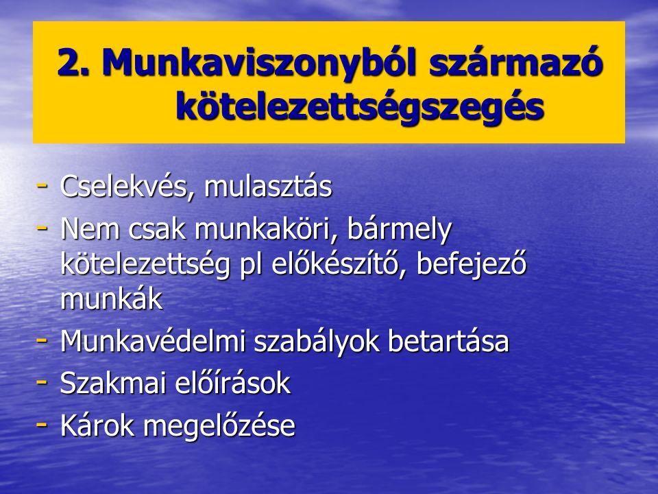 2. Munkaviszonyból származó kötelezettségszegés - Cselekvés, mulasztás - Nem csak munkaköri, bármely kötelezettség pl előkészítő, befejező munkák - Mu