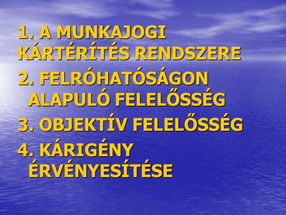 1. A MUNKAJOGI KÁRTÉRÍTÉS RENDSZERE 2. FELRÓHATÓSÁGON ALAPULÓ FELELŐSSÉG 3.