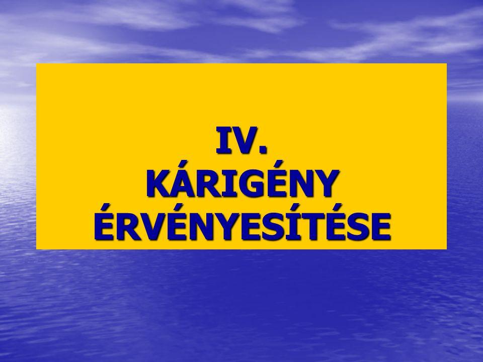IV. KÁRIGÉNY ÉRVÉNYESÍTÉSE