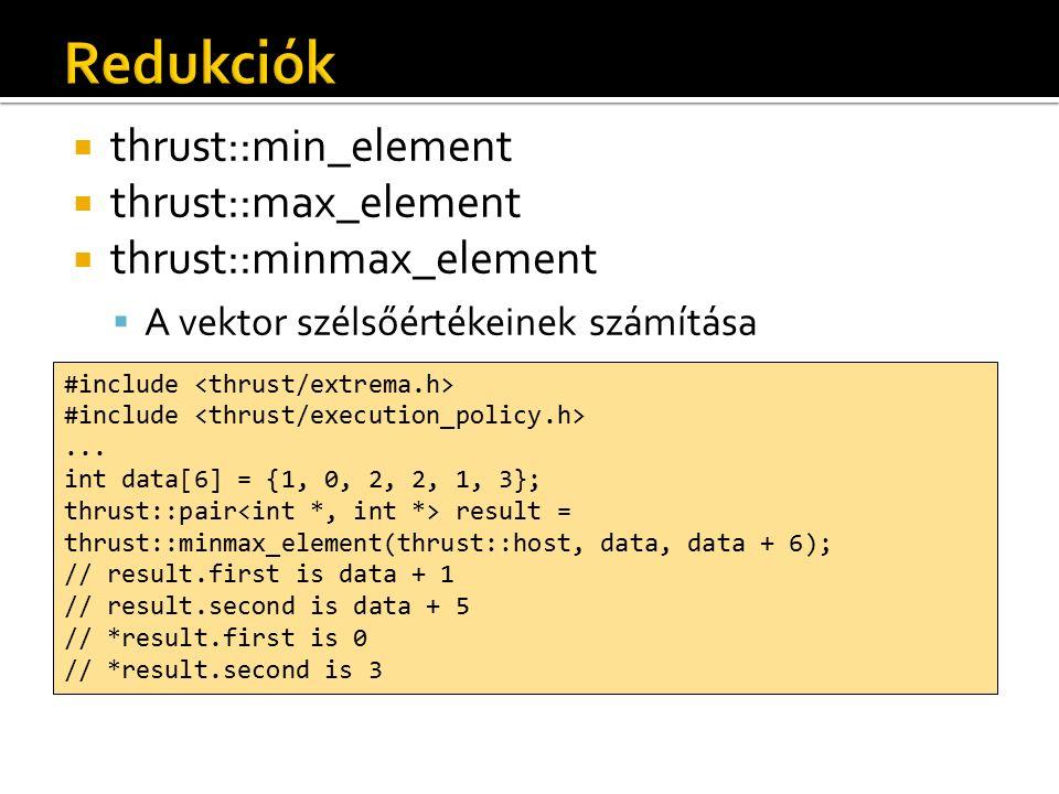  thrust::min_element  thrust::max_element  thrust::minmax_element  A vektor szélsőértékeinek számítása #include...
