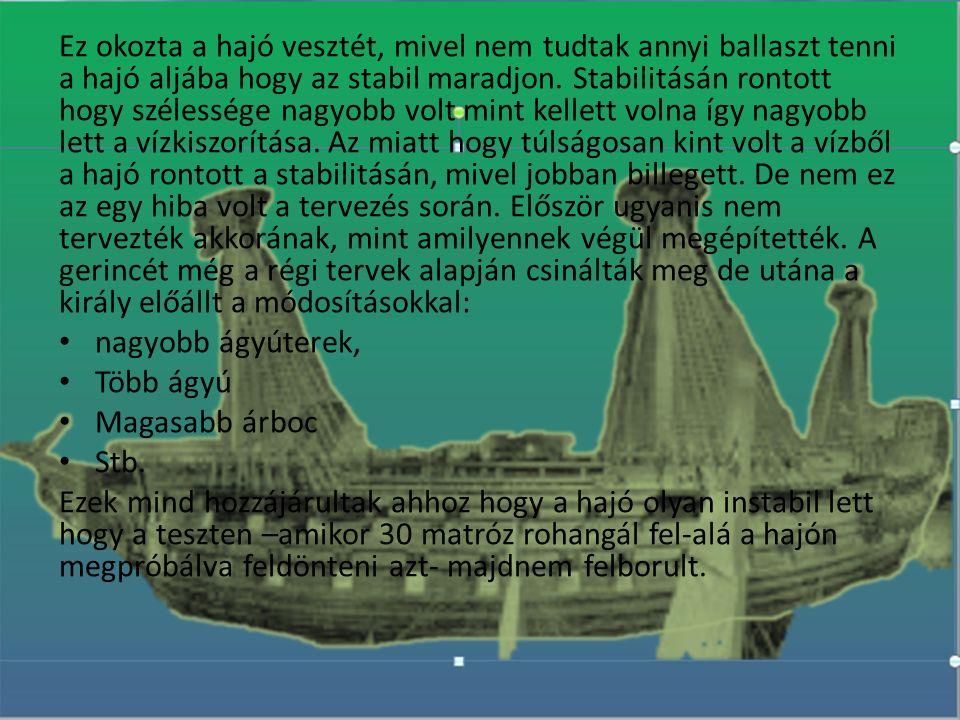 Ez okozta a hajó vesztét, mivel nem tudtak annyi ballaszt tenni a hajó aljába hogy az stabil maradjon. Stabilitásán rontott hogy szélessége nagyobb vo