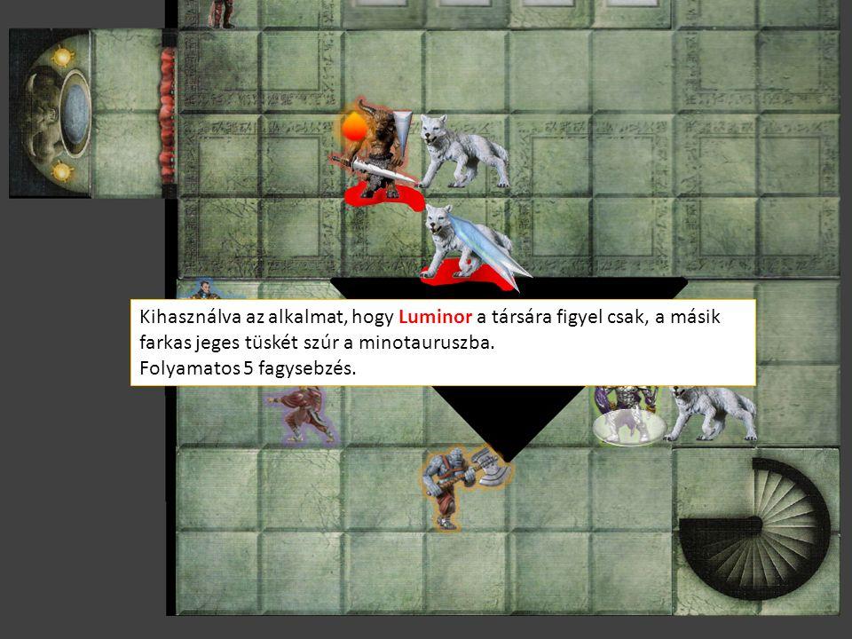 Kihasználva az alkalmat, hogy Luminor a társára figyel csak, a másik farkas jeges tüskét szúr a minotauruszba.