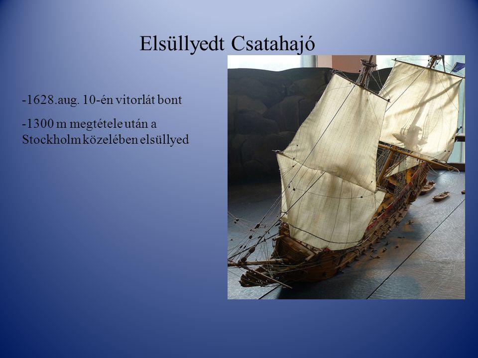 Elsüllyedt Csatahajó -1628.aug. 10-én vitorlát bont -1300 m megtétele után a Stockholm közelében elsüllyed