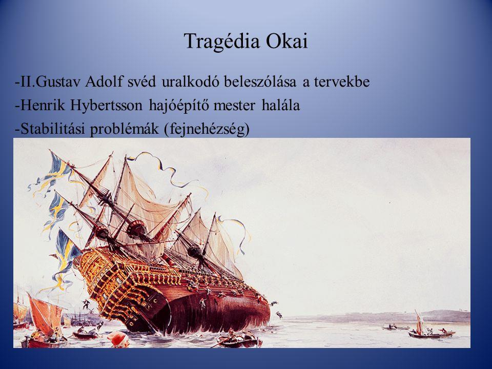 Tragédia Okai -II.Gustav Adolf svéd uralkodó beleszólása a tervekbe -Henrik Hybertsson hajóépítő mester halála -Stabilitási problémák (fejnehézség)